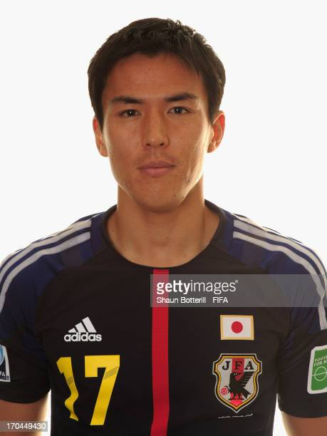 Makoto Hasebe of Japan poses for a portrait at the Kubistchek Plaza Hotel on June 13 2013 in Brasilia Brazil