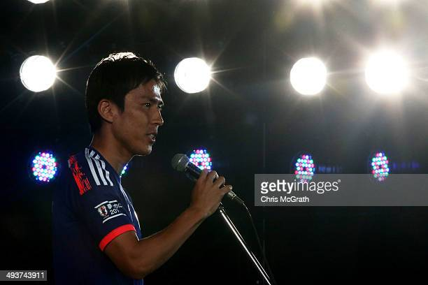 Makoto Hasebe of Japan speaks during the World Cup sendoff press conference for Japanese team on May 25 2014 in Tokyo Japan