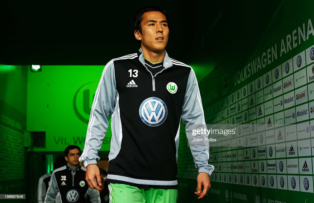 <a gi-track='captionPersonalityLinkClicked' href=/galleries/search?phrase=Makoto+Hasebe&family=editorial&specificpeople=876998 ng-click='$event.stopPropagation()'>Makoto Hasebe</a> of Wolfsburg is seen prior to the Bundesliga match between VfL Wolfsburg and SV Werder Bremen at Volkswagen Arena on November 24, 2012 in Wolfsburg, Germany.