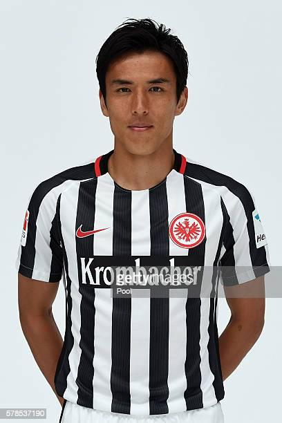 Makoto Hasebe poses during the Eintracht Frankfurt Team Presentation on July 21 2016 in Frankfurt am Main Germany