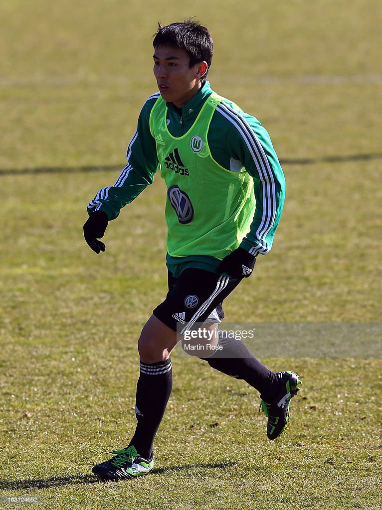 Makoto Hasebe runs during a VfL Wolfsburg training session on March 5, 2013 in Wolfsburg, Germany.