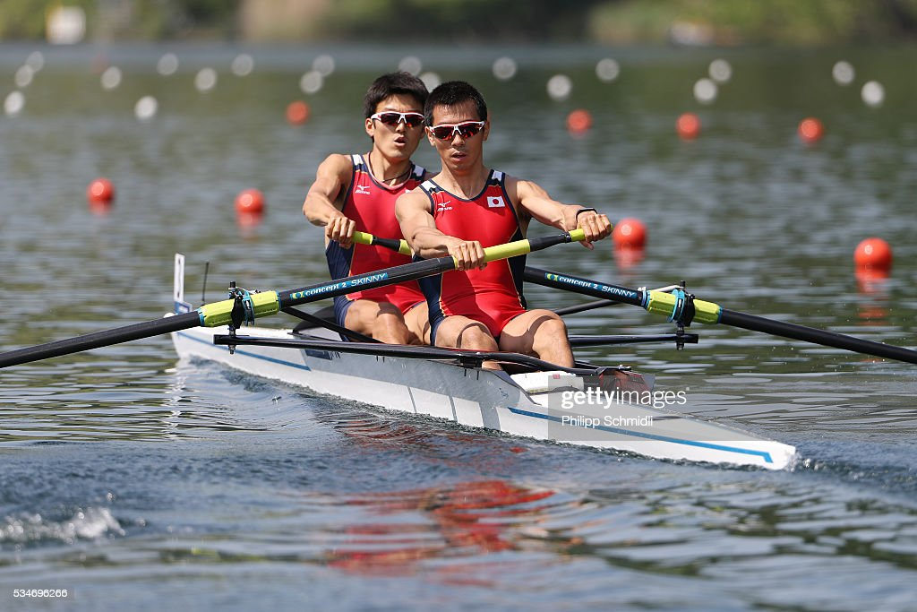 Makoto Ishita (L) and Kenta Tadachi of Japan compete in the Lightweight Men's Pair heats during day 1 of the 2016 World Rowing Cup II at Rotsee on May 27, 2016 in Lucerne, Switzerland.