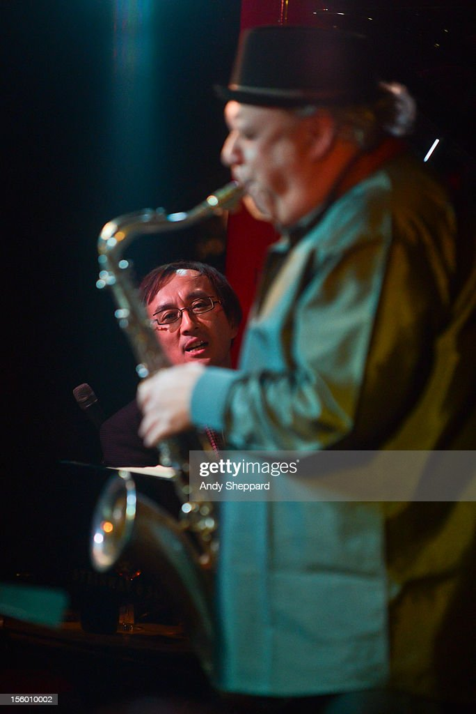 Makoto Kuriya and Tony Lakatos of Makoto Meets Lakatos perform on stage at Pizza Express Jazz Club during the London Jazz Festival 2012 on November 10, 2012 in London, United Kingdom.