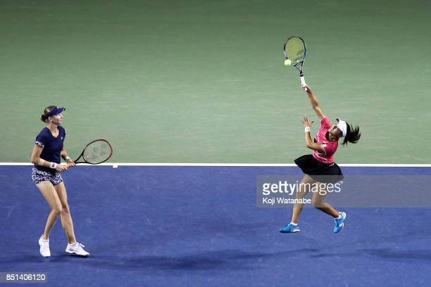 Makoto Ninomiya of Japan and Renata Voracova of Czech Republic competes against Daria Gavrilova of Australia and Daria KASATKINA of Russia during day...