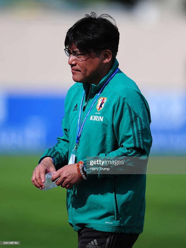 Makoto Teguramori, Coach of Japan during the Toulon Tournament match between Guinea and Japan at Stade Antoinr Baptiste on May 25, 2016 in Six-Fours-Les-Plages, France.