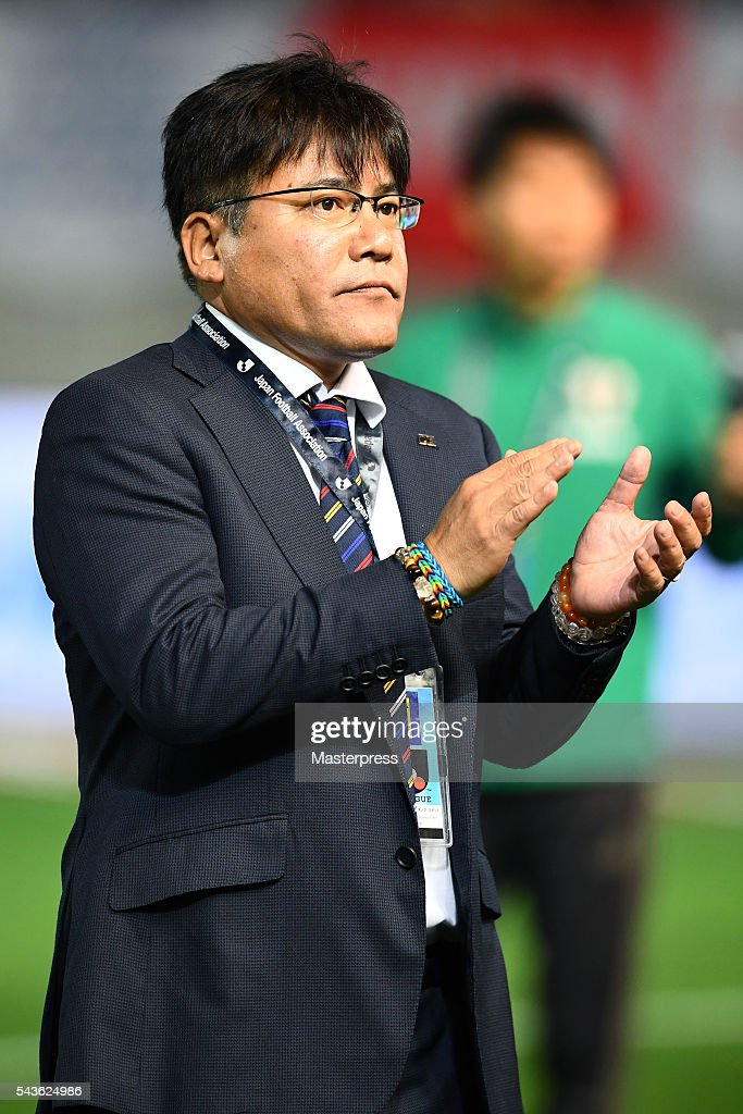 Makoto Teguramori head coach of Japan looks on after the U-23 international friendly match between Japan v South Africa at the Matsumotodaira Football Stadium on June 29, 2016 in Matsumoto, Nagano, Japan.