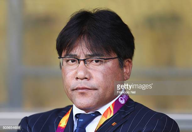 Makoto Teguramori head coach of Japan looks on prior to the AFC U23 Championship Group B match between Saudi Arabia and Japan at Suhaim Bin Hamad...