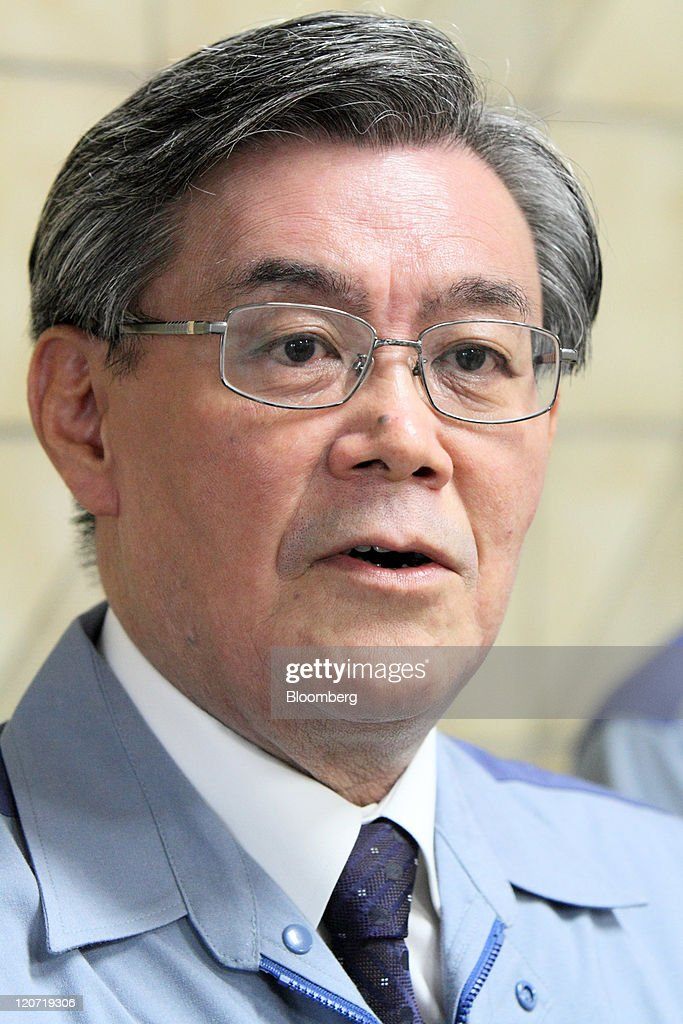 Makoto Yagi president of Kansai Electric Power Co speaks to employees at the company's Mihama nuclear power station in Mihama Town Fukui Prefecture...