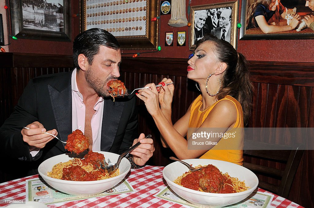 Maks Chmerkovskiy and <a gi-track='captionPersonalityLinkClicked' href=/galleries/search?phrase=Karina+Smirnoff&family=editorial&specificpeople=4029232 ng-click='$event.stopPropagation()'>Karina Smirnoff</a> celebrate their Opening Night in 'Forever Tango' at Buca di Beppo Times Square followed by a party downstairs at Planet Hollywood Times Square on July 14, 2013 in New York City.