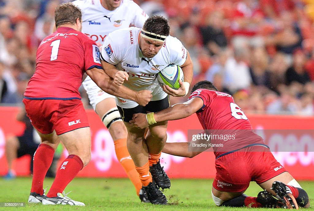 Maks Van Dyk of the Cheetahs is tackled during the round 10 Super Rugby match between the Reds and the Cheetahs at Suncorp Stadium on April 30, 2016 in Brisbane, Australia.