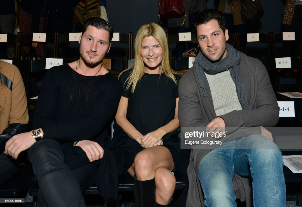 Maksim Chmerkovkskiy, <a gi-track='captionPersonalityLinkClicked' href=/galleries/search?phrase=Lizzie+Grubman&family=editorial&specificpeople=202016 ng-click='$event.stopPropagation()'>Lizzie Grubman</a> and <a gi-track='captionPersonalityLinkClicked' href=/galleries/search?phrase=Valentin+Chmerkovskiy&family=editorial&specificpeople=8128683 ng-click='$event.stopPropagation()'>Valentin Chmerkovskiy</a> attends Sergio Davila during Fall 2013 Mercedes-Benz Fashion Week at The Studio at Lincoln Center on February 7, 2013 in New York City.
