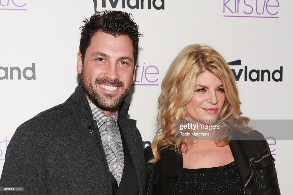 <a gi-track='captionPersonalityLinkClicked' href=/galleries/search?phrase=Maksim+Chmerkovskiy&family=editorial&specificpeople=4251170 ng-click='$event.stopPropagation()'>Maksim Chmerkovskiy</a> (L) and Actress <a gi-track='captionPersonalityLinkClicked' href=/galleries/search?phrase=Kirstie+Alley&family=editorial&specificpeople=206297 ng-click='$event.stopPropagation()'>Kirstie Alley</a> attends the 'Kirstie' premiere party at Harlow on December 3, 2013 in New York City.