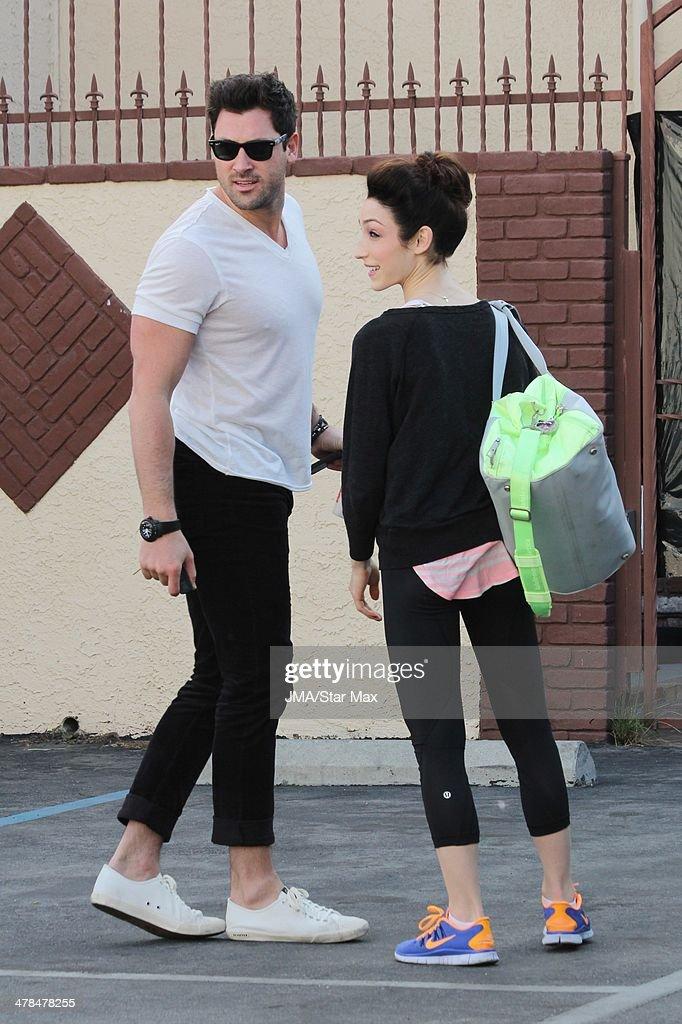 Maksim Chmerkovskiy and Meryl Davis are seen on March 13, 2014 in Los Angeles, California.