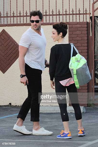 Maksim Chmerkovskiy and Meryl Davis are seen on March 13 2014 in Los Angeles California