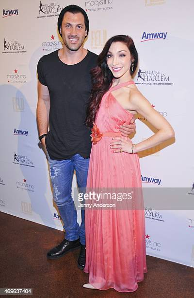 Maksim Chmerkovskiy and Meryl Davis attend the 10th Annual Skating With The Stars Benefit Gala at 583 Park Avenue on April 13 2015 in New York City