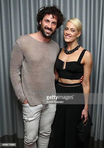 Maksim Chmerkovskiy and Peta Murgatroyd attend the Samsung celebration for Alec Monopoly's LEVEL Headphones Collaboration at Soho Beach House on...