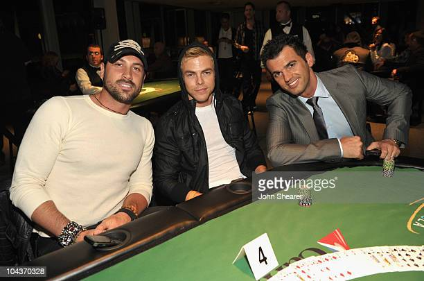 Maksim Chmerkovskiy Derek Hough and Tony Dovolani attend 'Get Lucky For Lupus' at Petersen Automotive Museum on September 22 2010 in Los Angeles...