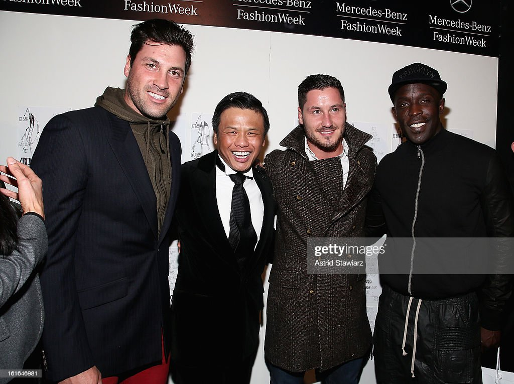 Maksim Chmerkovskiy, designer Zang Toi, Valentin Chmerkovskiy and Michael Kenneth Williams backstage at the Zang Toi Fall 2013 fashion show during Mercedes-Benz Fashion Week at The Stage at Lincoln Center on February 13, 2013 in New York City.