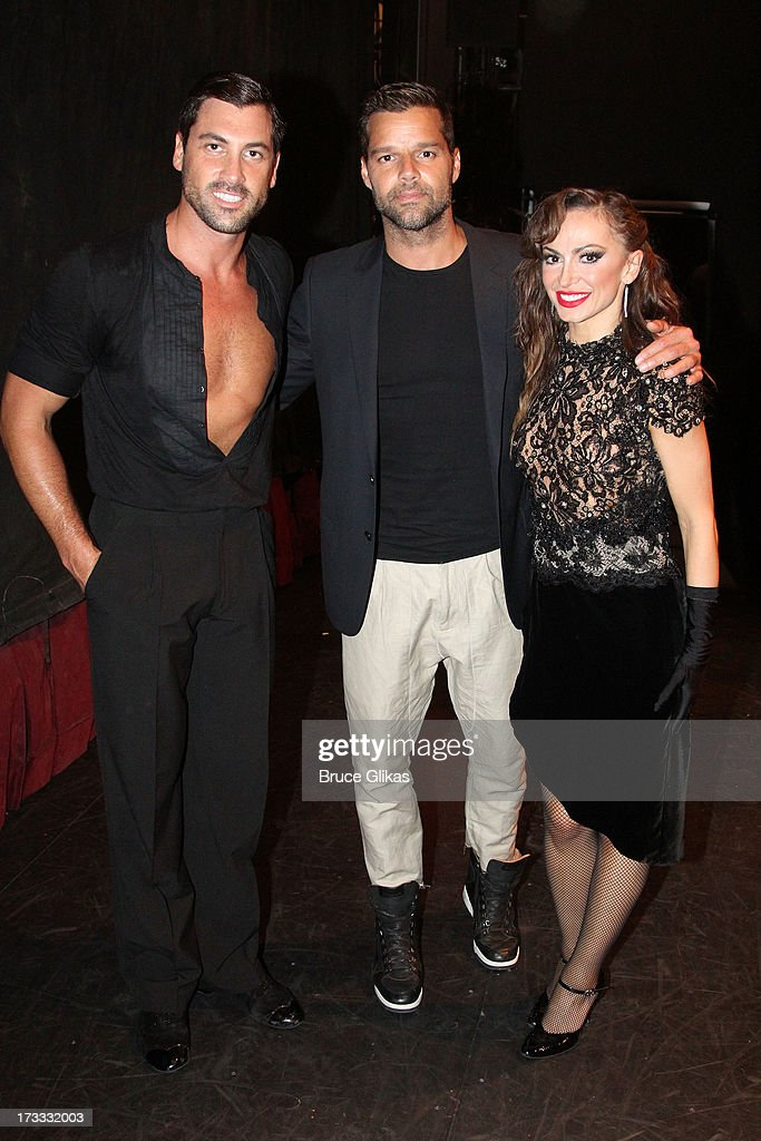 Maksim Chmerkovskiy, Ricky Martin and Karina Smirnoff pose backstage at the Argentinian dance sensation 'Forever Tango' on Broadway at The Walter Kerr Theater on July 11, 2013 in New York City.