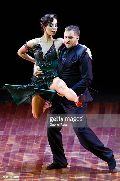 Maksim Gerasimov and Maria Vasileva of Russia dance during the Stage Tango Final as part of Buenos Aires Tango Festival World Championship 2016 at...