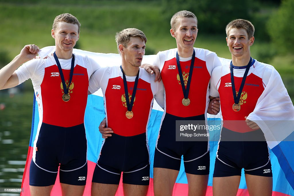 Maksim Telitcyn, Aleksandr Bogdashin, Alexander Chaukin and Aleksey Vikulin of Russia celebrate after qualifying for the 2016 Summer Olympic Games in Rio during Day 3 of the 2016 FISA European And Final Olympic Qualification Regatta at Rotsee on May 24, 2016 in Lucerne, Switzerland.