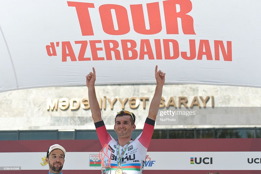 Maksym Averin, a rider from Synergy Baku Cycling Project wins the second stage of the 5th Tour d'Azerbaijan 2016, Baku to Ismayilly Stage (186.5 km). Ismayilly, Azerbaijan, on Thursday, 5 May 2016.
