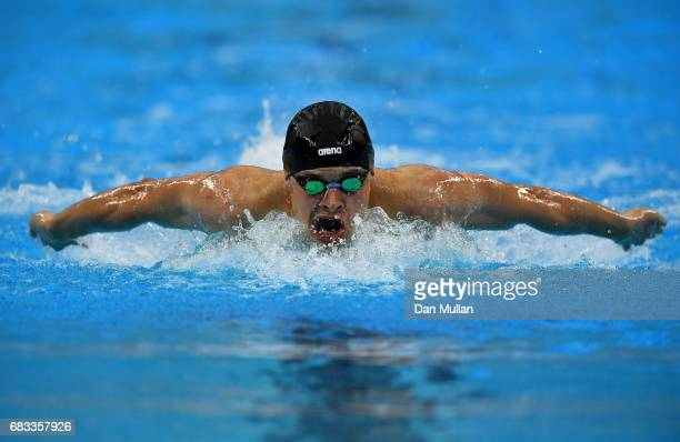 Maksym Shemberev of Azerbaijan competes in the Mens Swimming 400m Individual Medley during day four of Baku 2017 4th Islamic Solidarity Games at the...