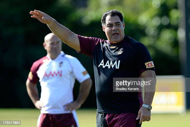 Mal Meninga gives out directions during the Queensland Maroons State of Origin training session on July 14 2013 in Sunshine Coast Australia