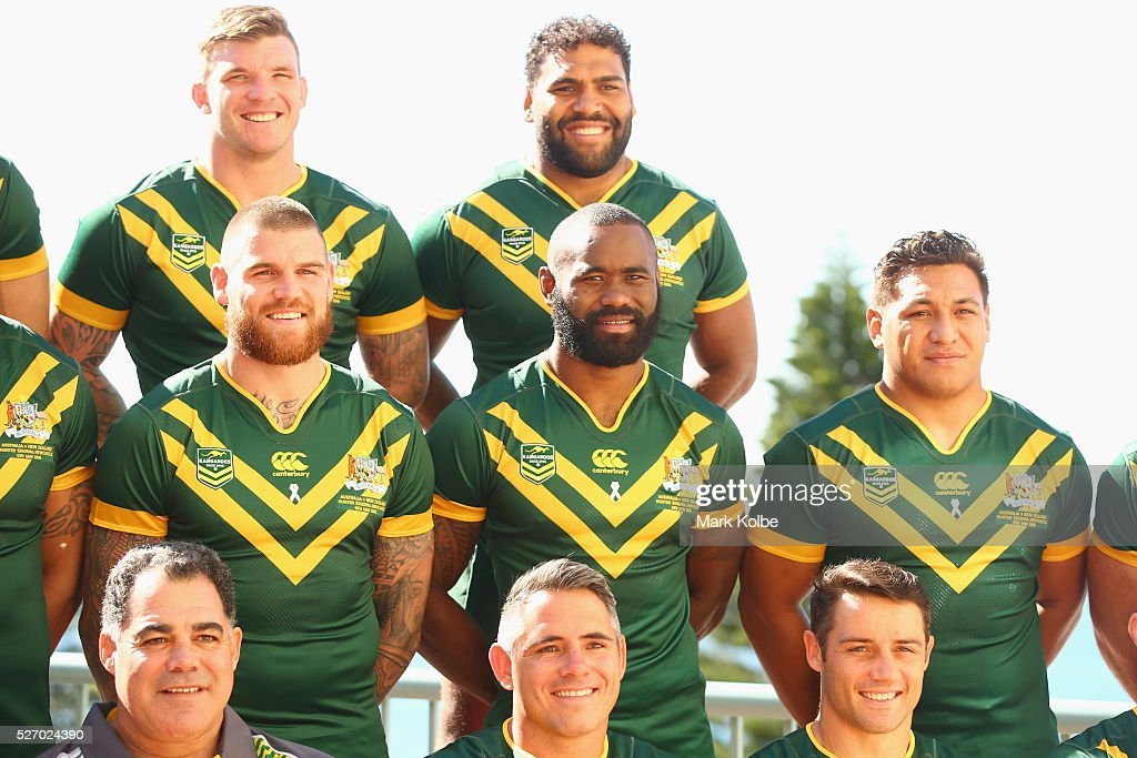 Mal Meninga, Josh McGuire, Josh Dugan, Corey Parker, Sam Thaiday, Semi Radradra, Cooper Cronk and Josh Papalii pose for the team photo during the Australia Kangaroos Test team photo session at Crowne Plaza Coogee on May 2, 2016 in Sydney, Australia.