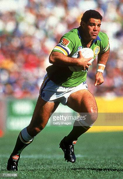 Mal Meninga of the Raiders runs with the ball during the 1994 ARL Grand Final between the Canberra Raiders and the Canterbury Bulldogs at the Sydney...