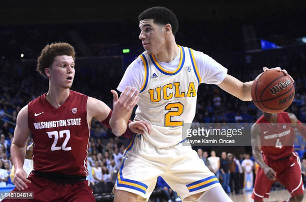 Malachi Flynn of the Washington State Cougars guards Lonzo Ball of the UCLA Bruins in the second half of the game at Pauley Pavilion on March 4 2017...