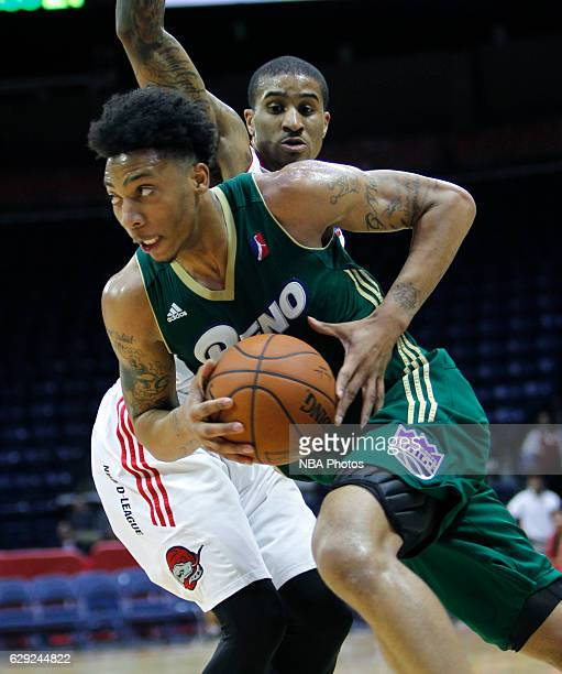 Malachi Richardson of the Reno Bighorns drives to the basket against Gary Payton II of the Rio Grande Valley Vipers at the State Farm Arena December...