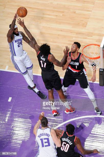 Malachi Richardson of the Sacramento Kings shoots against Ed Davis of the Portland Trail Blazers on October 9 2017 at Golden 1 Center in Sacramento...