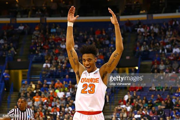 Malachi Richardson of the Syracuse Orange celebrates after defeating the Middle Tennessee Blue Raiders during the second round of the 2016 NCAA Men's...