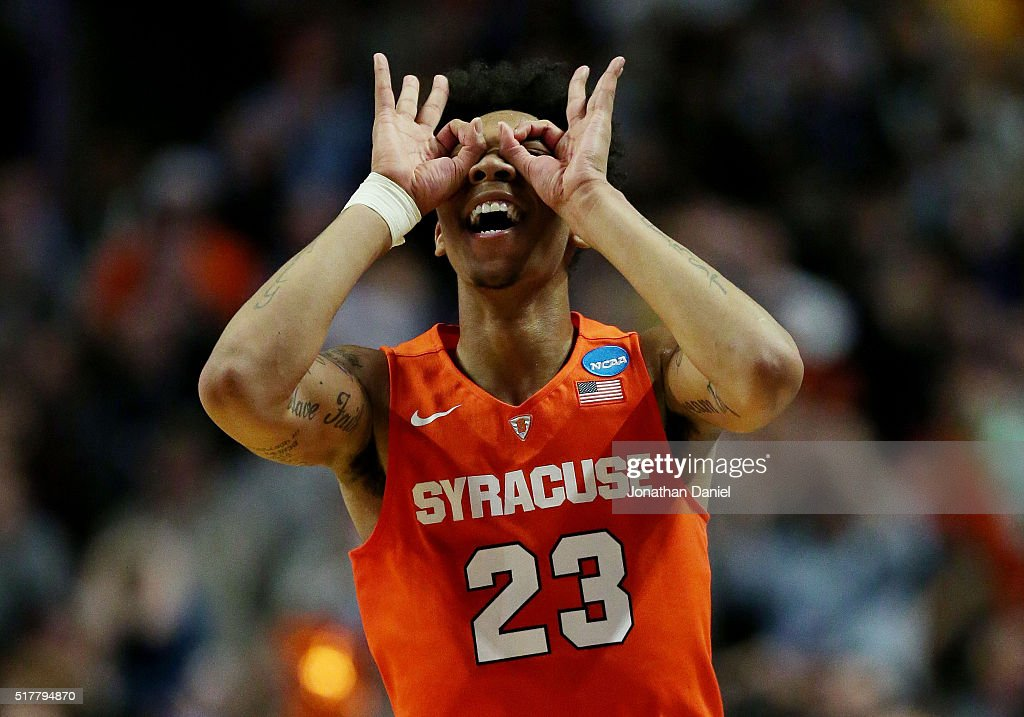 Malachi Richardson of the Syracuse Orange celebrates in the second half against the Virginia Cavaliers during the 2016 NCAA Men's Basketball...