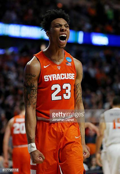 Malachi Richardson of the Syracuse Orange celebrates their 68 to 62 win over the Virginia Cavaliers with teammates during the 2016 NCAA Men's...