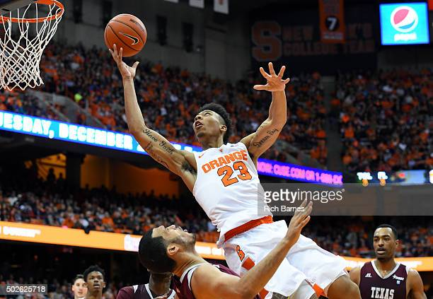 Malachi Richardson of the Syracuse Orange drives to the basket for a shot against the Texas Southern Tigers during the second half at the Carrier...