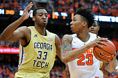 Malachi Richardson of the Syracuse Orange drives to the basket against the defense of James White of the Georgia Tech Yellow Jackets during the...