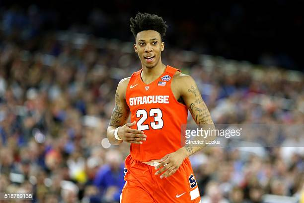 Malachi Richardson of the Syracuse Orange reacts in the first half against the North Carolina Tar Heels during the NCAA Men's Final Four Semifinal at...