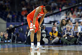 Malachi Richardson of the Syracuse Orange reacts in the second half against the North Carolina Tar Heels during the NCAA Men's Final Four Semifinal...