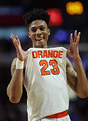 Malachi Richardson of the Syracuse Orange reacts to their 63 to 60 win against the Gonzaga Bulldogs during the 2016 NCAA Men's Basketball Tournament...