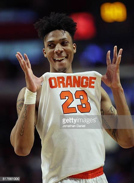 Malachi Richardson of the Syracuse Orange reacts to their 63 to 60 win against the Gonzaga Bulldogs during the 2016 NCAA Men's Basketball Tournament...