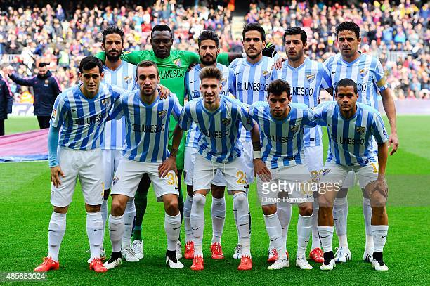 Malaga CF pose for a team picture prior to the La Liga match between FC Barcelona and Malaga CF at Camp Nou on February 21 2015 in Barcelona Spain