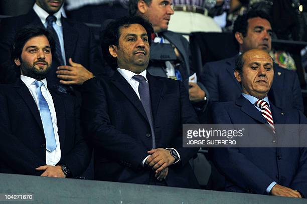 Malaga CF's chairman Sheikh Abdallah Ben Nasser AlThani watches the Spanish league football match between Malaga CF and Sevilla at Rosaleda stadium...