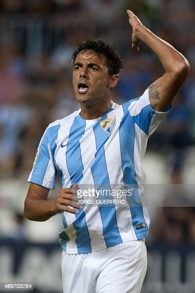 Malaga's Brazilian defender Weligton gestures during the Spanish league football match Malaga CF vs Villarreal CF at La Rosaleda stadium in Malaga on...