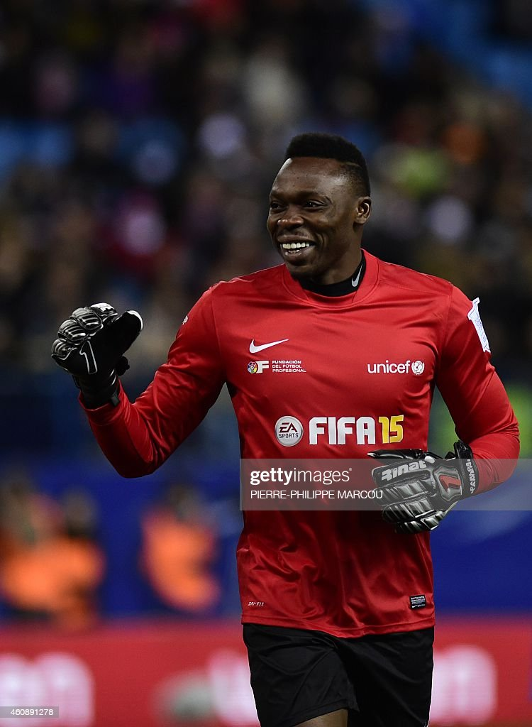 Malaga's Cameroonian goalkeeper Idriss Kameni smiles during the second match of the 'Champions for Life' charity games organized by the Professional Football Association (LFP) and the Spanish UNICEF committee at the Vicente Calderon stadium in Madrid on December 29, 2014.