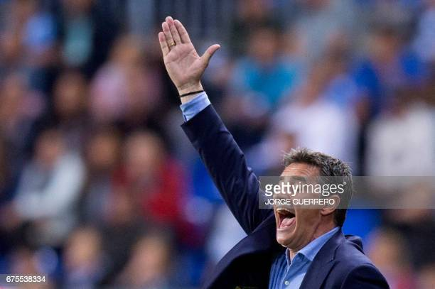 Malaga's coach Michel shouts and gestures from the sideline during the Spanish league football match Malaga CF vs Sevilla FC at La Rosaleda stadium...