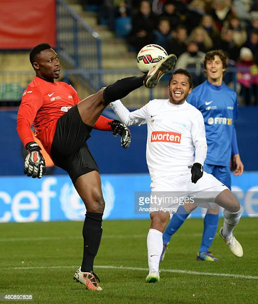 Malaga's goalkeeper Idriss Kameni controls the ball during the 'Champions for Life' charity match organized by the Professional Football Association...