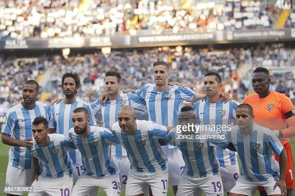 Malaga's team pose before the Spanish league football match Malaga CF vs Sevilla FC at La Rosaleda stadium in Malaga on August 21 2015 AFP PHOTO /...