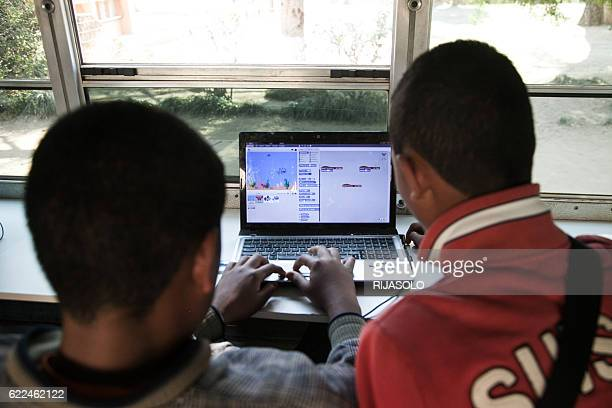 Malagasy children aged 7 to 13 learn how to code on the CODER bus on September 24 2016 in Antananarivo This project was created in October 2015 by...